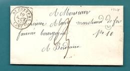 Gironde - St Estephe Pour Bordeaux. CàD Type 15 + Taxe 3 - 1849-1876: Classic Period