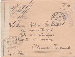 Lettre De DOMFRONT  (Mai 40) Censurée Et Contrôlée Par DC 60 Pour Clermont Ferrand. (TB) - Postmark Collection (Covers)