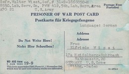 Kriegsgefangenenpost POW Lab. Serv. Co. PWE #412 Nach Heidelberg - 1946 (35487) - American,British And Russian Zone