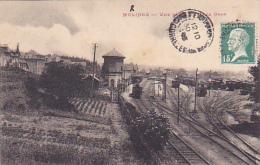 """Merlines (sans """"R"""") Vue Générale De La Gare (réservoir, Parc, Rails,wagons Et Locomotives) Circ 1923 - Other Municipalities"""