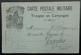 Carte De Franchise Militaire Carton Vert Pale Illustrée Soldat Du 212e De Ligne Gray Vers Tarbes Oct 1914 - Cartes De Franchise Militaire
