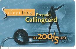 CARTE-PREPAYEE-BELGE-200Bef/5€-V° AUTOCOLLANT N° TELEPHONE-SILVERLINE-Plastic Epais-GRATTE-TBE - Belgique