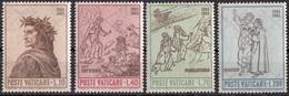 Vaticano 1965 Blf. 410/413 Illustrazioni Divina Commedia Dante Raffaello Botticelli Inferno Purgatorio Paradiso  MNH - Ecrivains