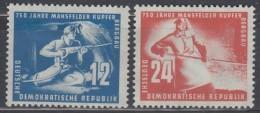 DDR  273-274, Postfrisch *, Mansfelder Kupferschieferbergbau 1950 - Unused Stamps