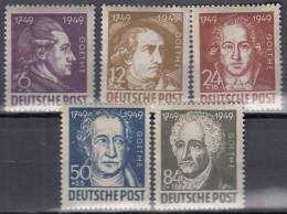 SBZ 234-238, Postfrisch **, Johann Wolfgang Von Goethe 1949 - Soviet Zone