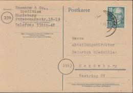 SBZ  215 EF, Auf Orts-Postkarte St: Magdeburg 14.4.1949 - Zona Sovietica