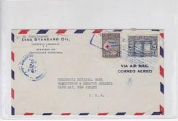 ESSO STANDARD OIL AIRMAIL CIRC HONDURAS TO USA CIRCA 1947. AUTRE MARQUE- BLEUP - Honduras