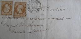 LOT R1593/42 - NAPOLEON III N°13B BdF Sur LETTRE (LSC) ROCHEFORT-SUR-MER 12 AVRIL 1862 - 1853-1860 Napoleon III