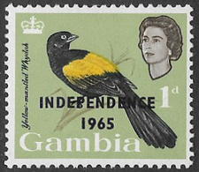 Gambia SG216 1965 Definitive 1d Mounted Mint [37/31011/1D] - Gambia (1965-...)