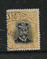 Rhodesia, B.S.A.Co. Admiral, 1913-22, 3d Black & Yellow, Perf 14, Die III, Used - Southern Rhodesia (...-1964)