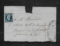 20cents Imperf On Fragment STATION DE LAGNEY / CHEMIN DE FER PARID A STRASBOURG Cachet - 1862 Napoleon III