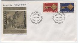 GREECE 1968 Europa First Day Cover Mi. Nr. 974-975 - Greece
