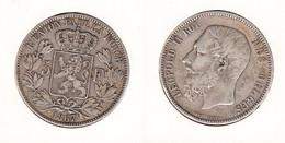 Belgique 5 Francs 1867   Leopold II Avec  Point Après Le F.  Met Punt . - 1865-1909: Leopold II