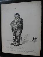 E.TAP (Edmond Tapissier) - Une Loterie Pour Les Chômeurs ? - Dessin Original 24 X 32 Cm. - Dessins