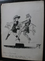 E.TAP (Edmond Tapissier) - Revue De Fin D'année - Dessin Original 24 X 32 Cm. - Dessins