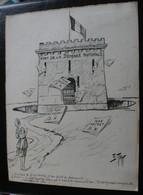 E.TAP (Edmond Tapissier) - Fort De La Défense Nationale - Dessin Original 24 X 32 Cm. - Dessins