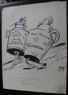 E.TAP (Edmond Tapissier) - Le Pot De Terre Et Le Pot De Fer - Effritement - Dessin Original 24 X 32 Cm. - Dessins