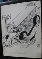 E.TAP (Edmond Tapissier) - Le Car Hallucinant - Dessin Original 24 X 32 Cm. - Dessins