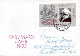 """DDR Schmuck-FDC  Mi Block 71 """"100. Todestag Von Karl Marx"""", ESSt BERLIN 11.4.1983 - Karl Marx"""