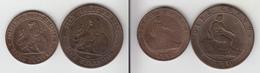 Espagne Cinco + Diez Centimos 1870 Spain España 5c + 10c - [ 1] …-1931 : Royaume