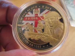 Superbe Medaille Polychrome Commémorative SWORD BEACH DEBARQUEMENT NORMANDIE 1944 Env 40mm état Neuf Jam. Sorti De Boite - France