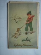 Kinderen Children Enfants Kinder Boy With Dog In Snow - Kinderen