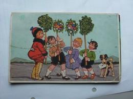 Kinderen Children Enfants Kinder Girls With Flowers And A Dog - Kinderen