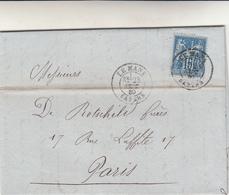Le Mans  To Paris. Cover 1880 Poste + Perfin . Al Retro Poste Restante Al Retro - 1876-1898 Sage (Type II)