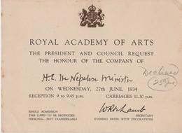 ROYAL ACADEMY RECEPTION LONDON 1934 NEPAL - Tickets - Vouchers