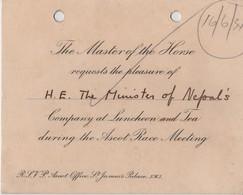 ASCOT RACES MASTER OF THE HORSE 1934 NEPAL - Toegangskaarten