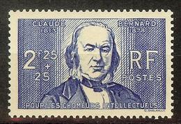 SUPERBE CHOMEUR INTELLECTUEL YT N°439 CLAUDE BERNARD NEUF AVEC GOMME** Cote 32 Euro - France