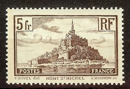 SUPERBE MONT SAINT MICHEL YT N°260 5F Brun (II) NEUF AVEC GOMME* Cote 25 Euro - Unused Stamps