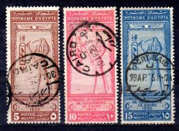 1.4.1925; Int. Geographenkongress, Mi-Nr. 94 - 96, Gest. Los 49840 - Egypt
