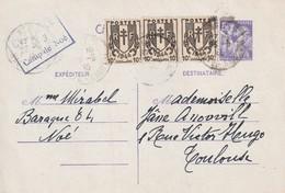 France Entier Postal Iris Daté Du 23 05 1945 Avec Cachet De Controle Du Camp De Noé (concentration ) N° 3 RRR - Marcophilie (Lettres)