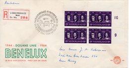 Eerste Dag 1964 Douane Unie BENELUX Aangetekend In Blok Van 4 - FDC
