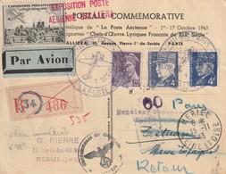 France Carte Postale De L'exposition De Paris 10 1943 Recommandée A Destination Du Maroc Espagnol - Postmark Collection (Covers)