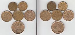 Afrique Du Sud  10c 1991 + 1992 + 20c 1992 + 1995 + 1997 + 50c 1996 - Sudáfrica