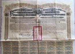 Government Province Of Petchili  500,000 L* Sterling 1913  République Chinoise - Actions & Titres