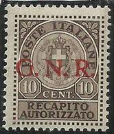 ITALIA REGNO ITALY 1944 SAGGI REPUBBLICA SOCIALE ITALIANA RSI RECAPITO AUTORIZZATO GNR ROSSA MNH SAGGIO PROVA FIRMATO - 4. 1944-45 Repubblica Sociale