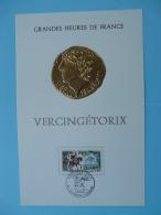 Feuillet FDC (16x24cm) Monnaie Celtique Decaris Vercingétorix 63 Clermont Ferrand 1966 - Coins