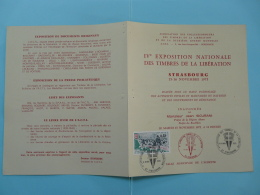 Encart Expo Timbres De La Liberation Strasbourg 1975 - 2. Weltkrieg