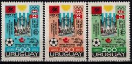 MSV-BK1-432 MINT ¤ URUGUAY 1974 3w In Serie ¤ WORLD FOOTBALL CHAMPION SHIP - VOETBAL -SOCCER - FUSSBAL - - Coppa Del Mondo