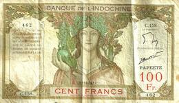 FRENCH POLYNESIA 100 FRANCS BROWN WOMAN HEAD FRONT MOTIF BACK NOT DATED(1965) P14d 4TH SIG VARIETY F+ READ DESCRIPTION!! - Papeete (French Polynesia 1914-1985)