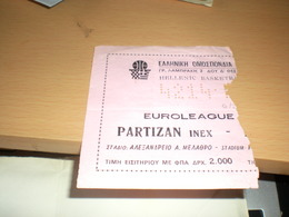 Basketball Partizan Euroleague Greece - Biglietti Della Lotteria