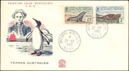 TAAF - 1960  -  Otarie De Kerguelen + Léopard De  Mer ,Yvert# 17 + 13A -  FDC - Superbe ! - French Southern And Antarctic Territories (TAAF)