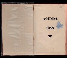 Agenda De 1948 Avec Annotations Et Divers Papiers Entre Les Pages - Calendars