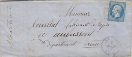 LETTRE. 7 AOUT 67. SARTHE LE LUDE. GC 2119 POUR AUBUSSON / 2 - 1849-1876: Classic Period