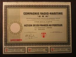 1 Cie RADIO-Maritime Action -SPECIMEN Rarity - Actions & Titres
