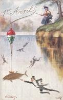 """¤¤  -  Carte Gauffrée   -  1er Avril   -  Poisson  -  Pêcheur à La Ligne  -  Illustrateur """" ELLAM """"     -  ¤¤ - 1° Aprile (pesce Di Aprile)"""