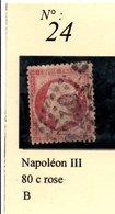 N°24  NAPOLEON III 80 C ROSE - 1862 Napoléon III